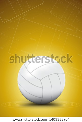 White volleyball with yellow background
