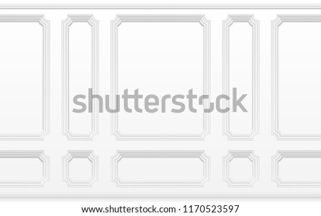 White wall with moulding frames. Classic interior with moulding panels. Seamless vector background. Architecture moulding background, interior with plaster decoration wall illustration