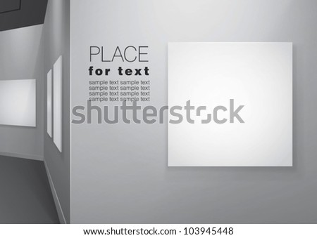 White walls gallery  with empty canvases on them. Vector eps10
