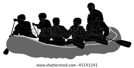 White water rafters - Silhouette