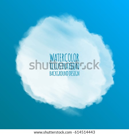 White watercolor cloud on color background for design. Vector illustration