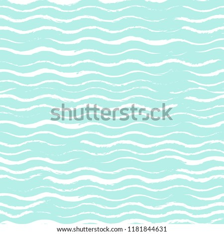 White waves drawn with chalk on a turquoise background. Seamless texture.Calm background