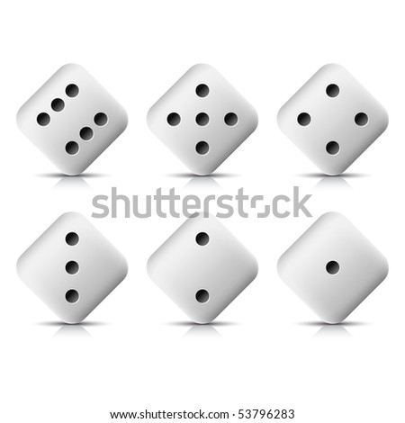 Rotation white web button casino dice icon with shadow and reflection on white background
