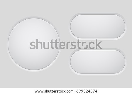 White web buttons. Vector 3d illustration
