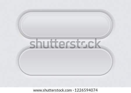 White web interface buttons. Oval 3d icons. Vector illustration #1226594074