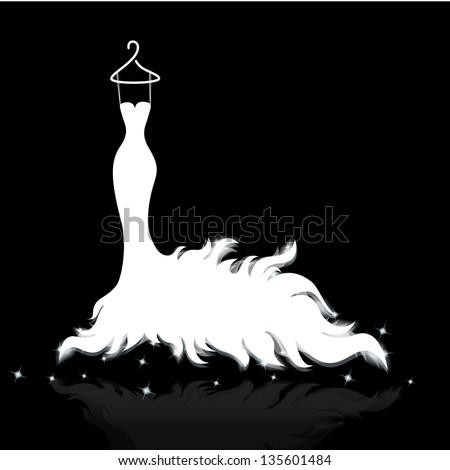 white wedding dress vector