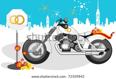White wedding motorcycle, road sign and landscape of the city.