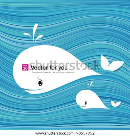 White whale ( paper materials design) on abstract blue sea background. vector illustration