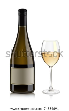 White wine bottle and glass - stock vector