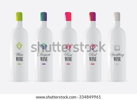 white wine bottle mockup set