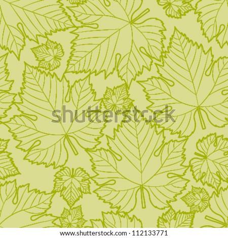 white wine green leaf seamless pattern