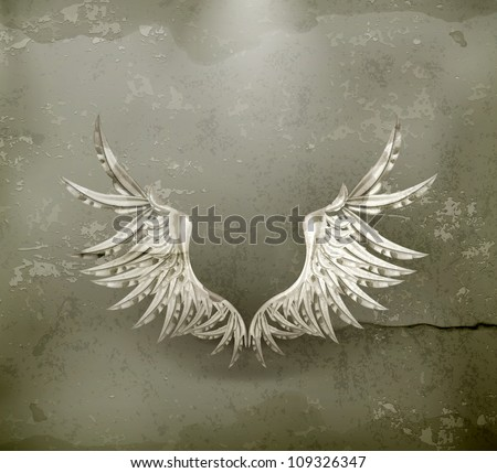 White wings, old-style vector