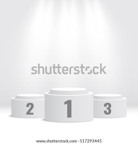 white winners podium pedestal