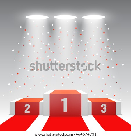 White winners podium with red carpet and confetti. Stage for awards ceremony. Pedestal. Spotlight. Vector illustration.