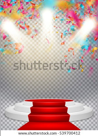 White winners podium with red carpet and confetti. Stage for awards ceremony. Pedestal. Spotlight. EPS 10 vector file included