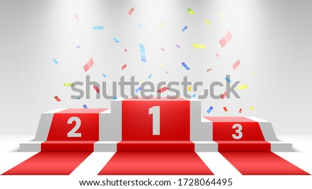 White winners podium with red carpet and confetti. Stage for awards ceremony. Pedestal with spotlights. Vector illustration.