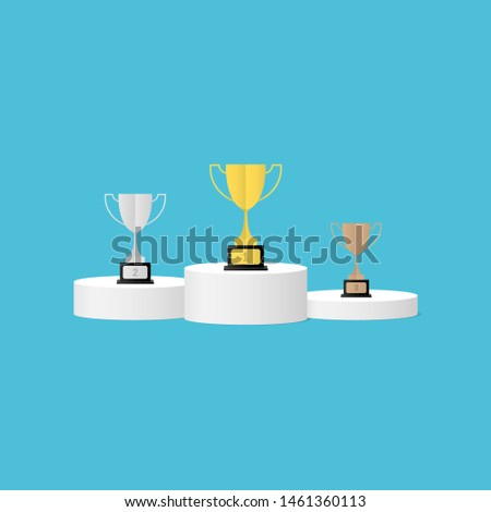 White winners podium with winners cup. Pedestal. Vector illustration