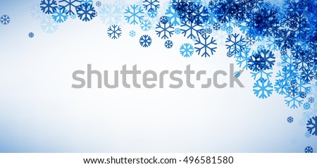 White winter banner with blue snowflakes in the corner. Vector illustration. #496581580