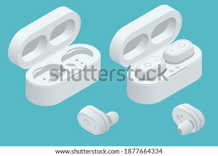 White Wireless Earphones and Case isolated on a white background. Bluetooth headphones in isometric design. Bluetooth headphones for listen audio Сток-фото ©