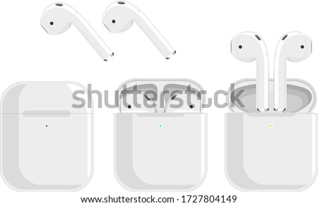 white wireless headphones, earbuds in the charging case, three pictures of removing the headphones on a white background. Bluetooth headphones in a flat design Сток-фото ©