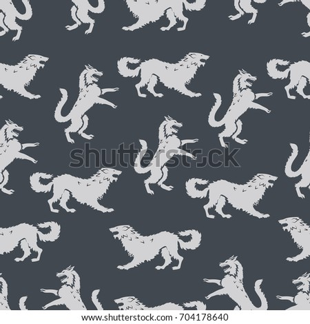 white wolf seamless pattern