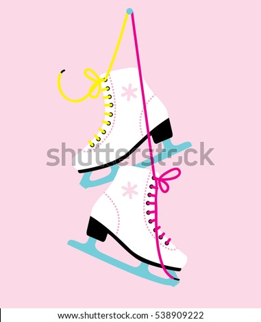 White woman figure Ice skates. vector illustration