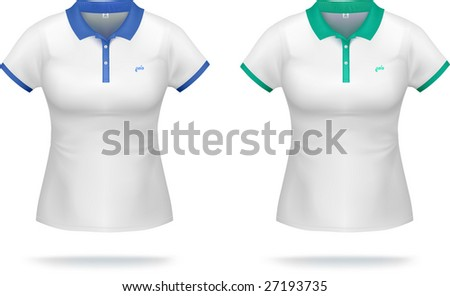 White woman polo shirt with blue & green details. VECTOR, gradient mesh, very detailed.