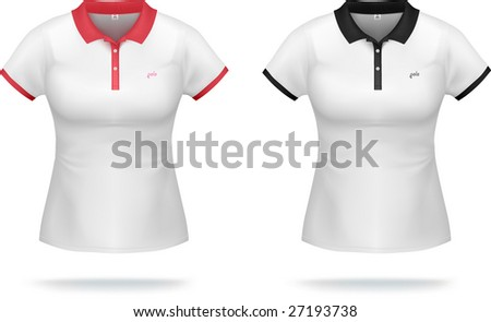 White woman polo shirt with red & black details. VECTOR, gradient mesh, very detailed. - stock vector