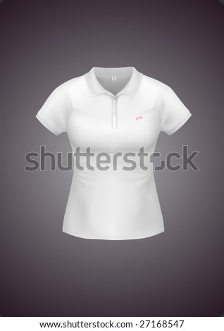 White woman polo shirt with sample identity design. VECTOR, contains gradient mesh elements, lot of details!