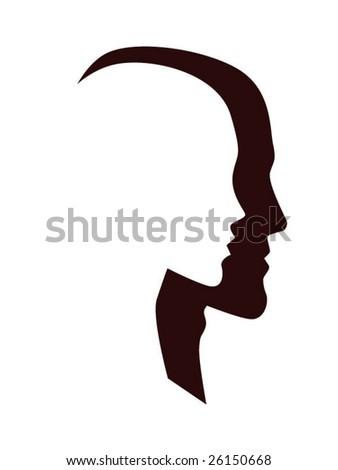 white woman profile in black man profile
