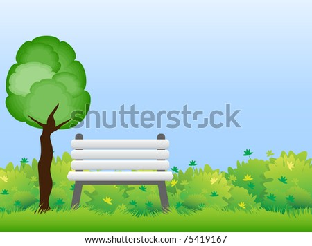 White wooden bench standing among the green bushes under a tree in the park