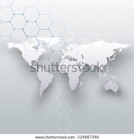 white world map  connecting