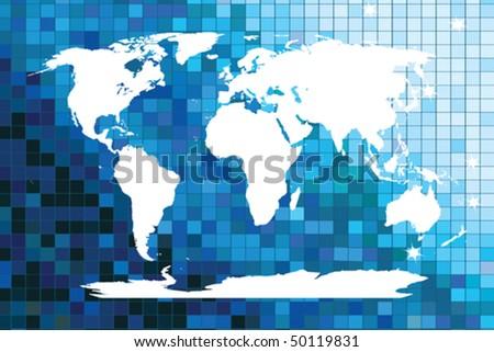 White world map on blue mosaic