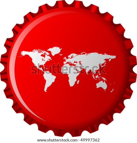 white world map on red bottle cap, abstract object isolated on white background; vector art illustration