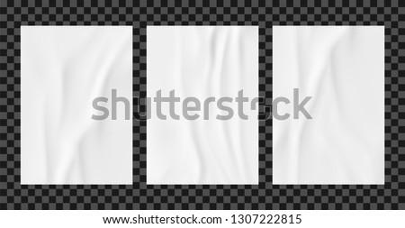 White wrinkled poster template set. Glued paper vector mockup.