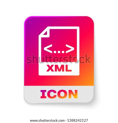 White XML file document icon. Download xml button icon isolated on white background. XML file symbol. Rectangle color button. Vector Illustration