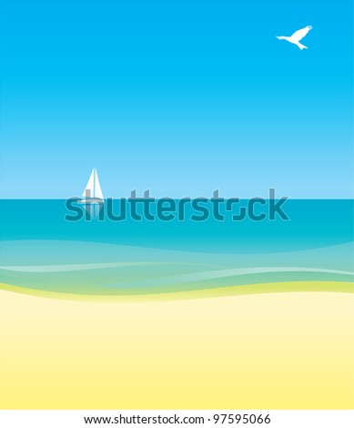 white yacht in blue sea under blue sky, yellow beach and bird in the sky