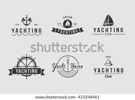 White yachting logo set