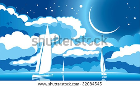 white yachts in the moonlight