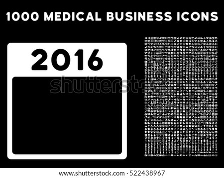 White 2016 Year Calendar Template vector icon with 1000 medical business pictograms. Set style is flat symbols, white color, black background.