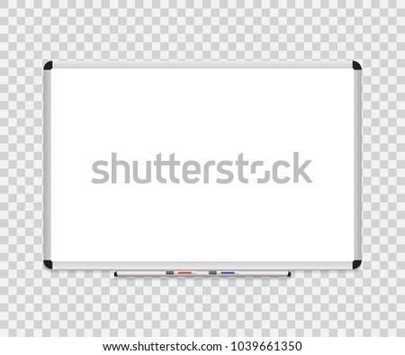 Whiteboard background frame with eraser whiteboard, color markers. Vector illustration