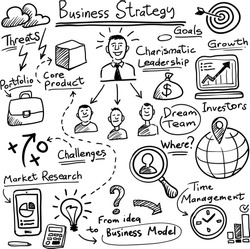 whiteboard business strategy vector template