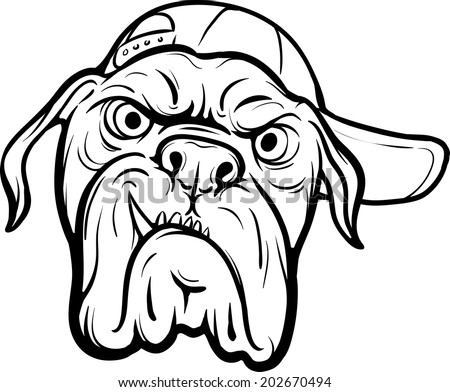 Royalty-free Whiteboard drawing - angry dog face ... Angry Dog Drawing