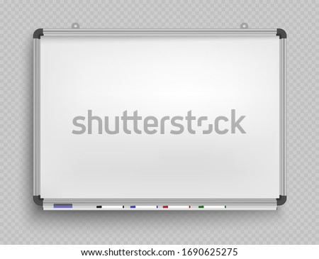 Whiteboard for markers. Presentation, Empty Projection screen. Office board background frame