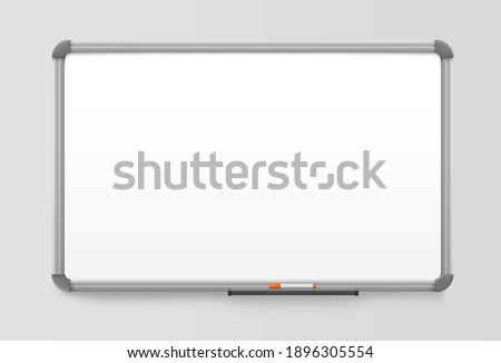 whiteboard realistic board with plastic frame white marker board magnetic noticeboard.eps Stock photo ©