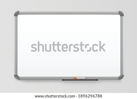 whiteboard realistic office board with plastic frame