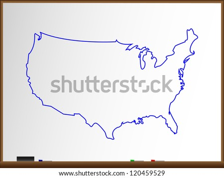 Whiteboard, Vector USA Map Illustration