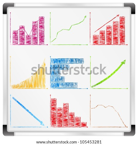 Whiteboard with different graphs and charts, vector eps10 illustration
