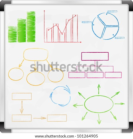 Whiteboard with graphs and diagrams, vector eps10 illustration