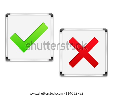 Whiteboards with check and cross symbols, vector eps10 illustration